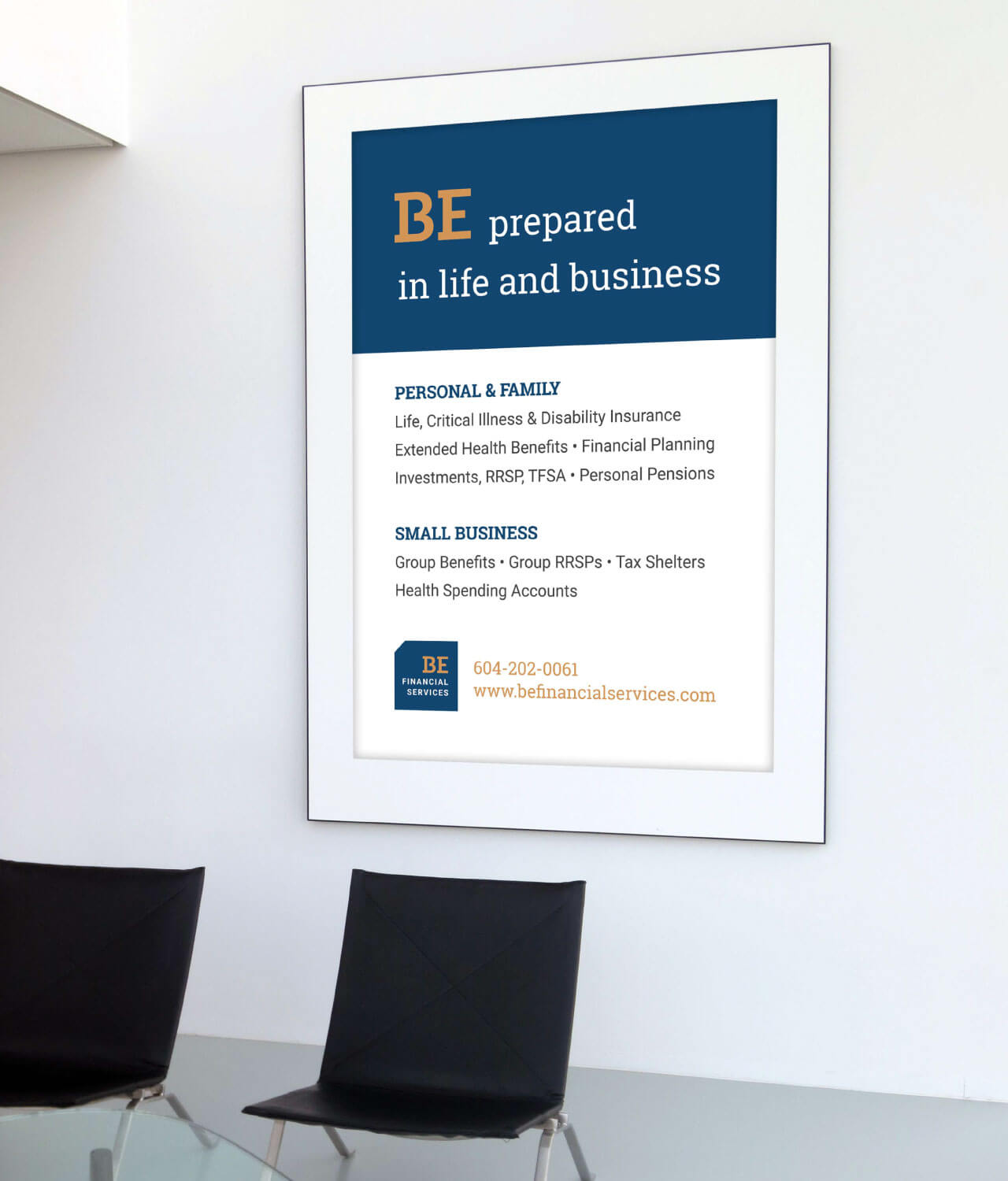 BE Financial Services sign design by Caitey Gilchrist Creative
